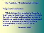 the analytic continental divide6