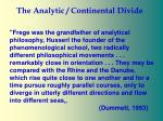 the analytic continental divide7