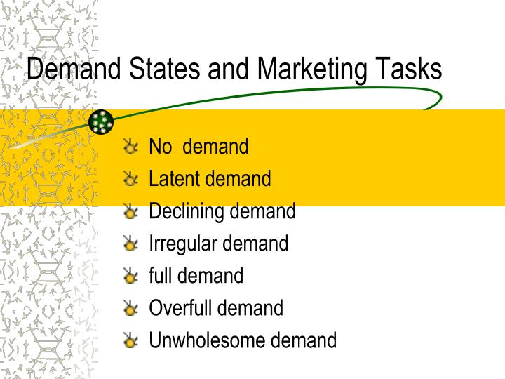 Demand States and Marketing Tasks