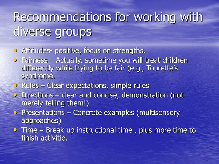 Recommendations for working with diverse groups