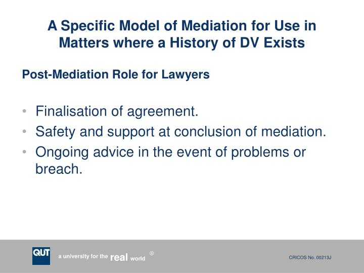 A Specific Model of Mediation for Use in Matters where a History of DV Exists