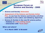 european forum on science and society 2005