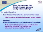 how to enhance the link between science and policy making
