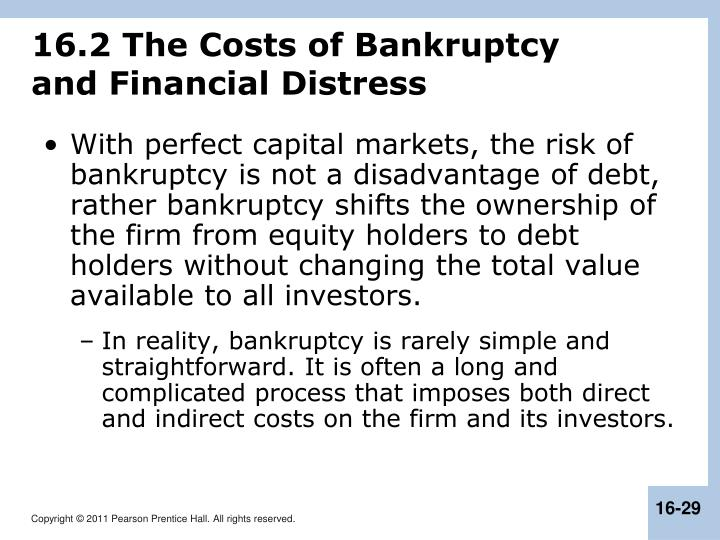 16.2 The Costs of Bankruptcy
