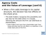 agency costs and the value of leverage cont d1
