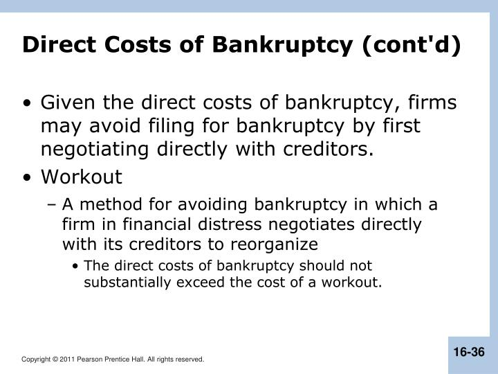 Direct Costs of Bankruptcy (cont'd)
