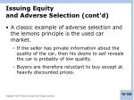 issuing equity and adverse selection cont d