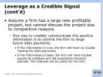 leverage as a credible signal cont d