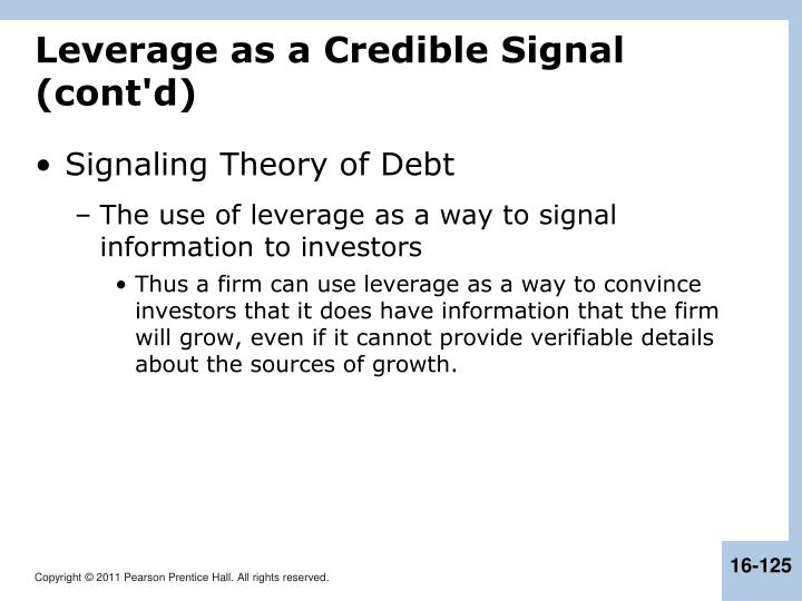 Leverage as a Credible Signal (cont'd)