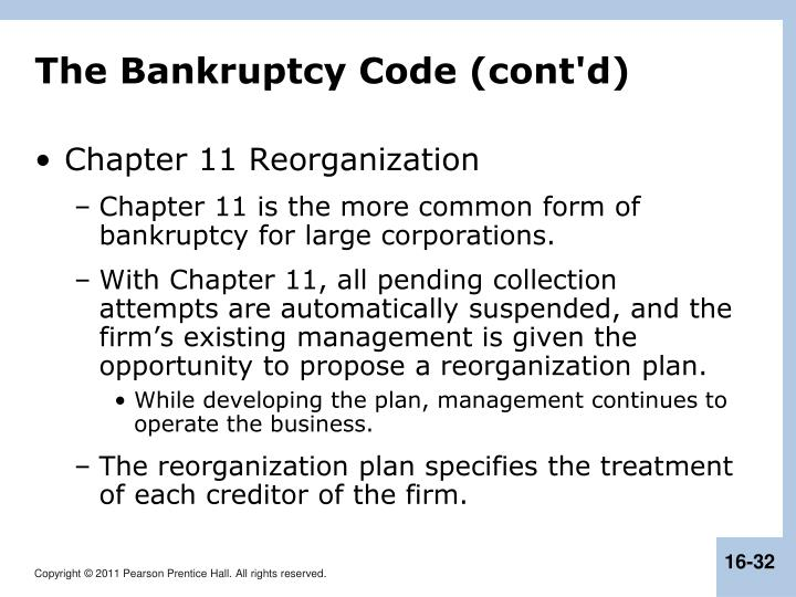 The Bankruptcy Code (cont'd)