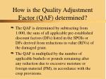 how is the quality adjustment factor qaf determined