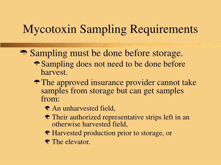 Mycotoxin Sampling Requirements