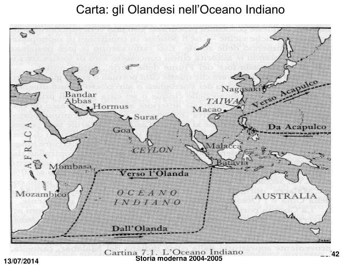 Carta: gli Olandesi nell'Oceano Indiano