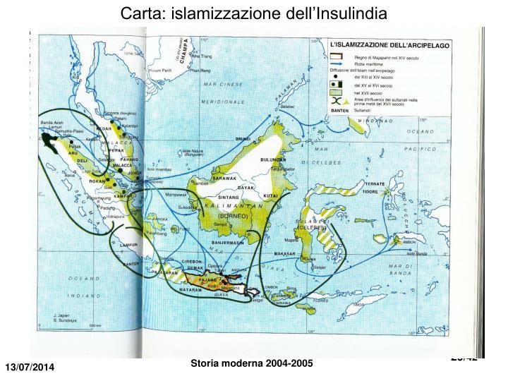 Carta: islamizzazione dell'Insulindia