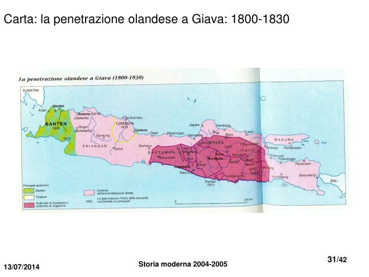 Carta: la penetrazione olandese a Giava: 1800-1830