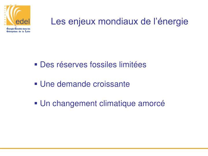 Les enjeux mondiaux de l'énergie