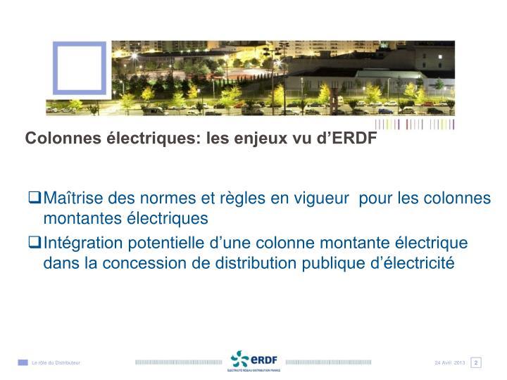 Maîtrise des normes et règles en vigueur  pour les colonnes montantes électriques