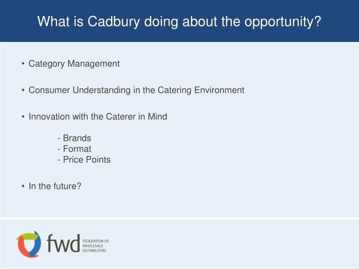 What is Cadbury doing about the opportunity?