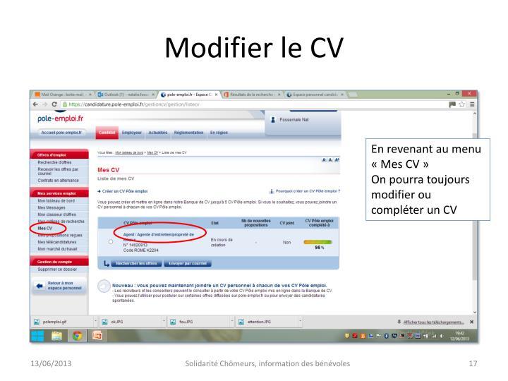 Modifier le CV