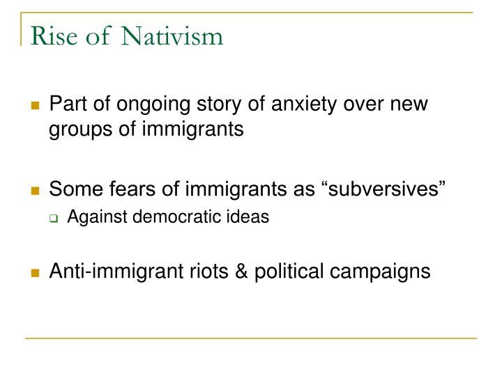 Rise of Nativism