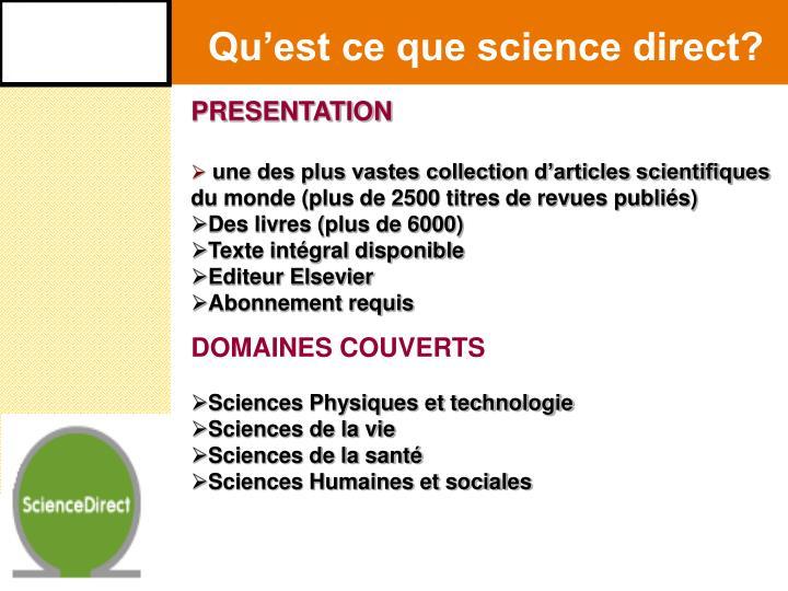 Qu'est ce que science direct?