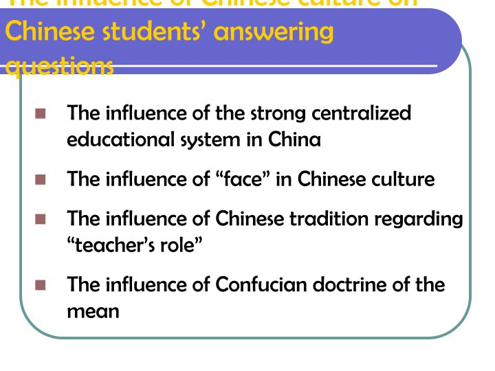 The influence of Chinese culture on Chinese students' answering questions