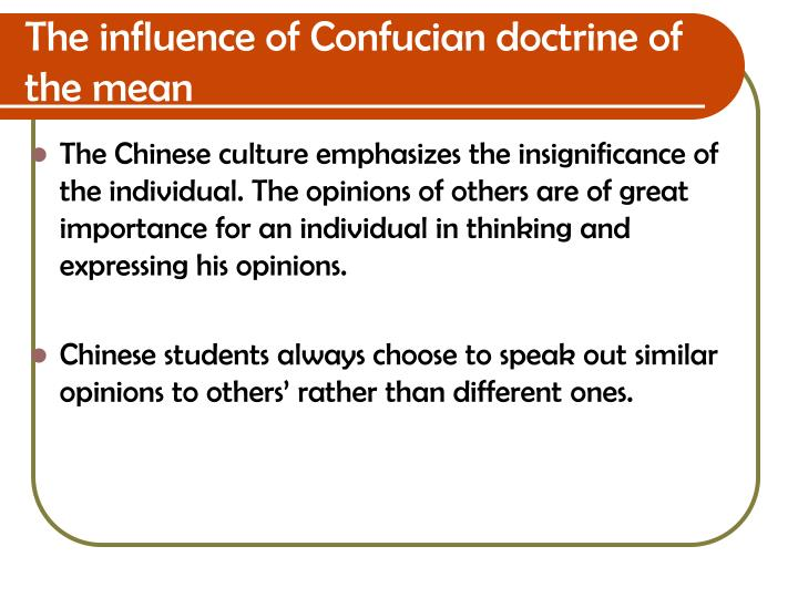 The influence of Confucian doctrine of the mean
