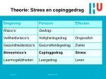 theorie stress en copinggedrag