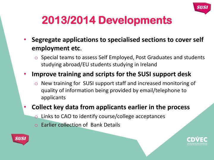 Segregate applications to specialised sections to cover self employment etc