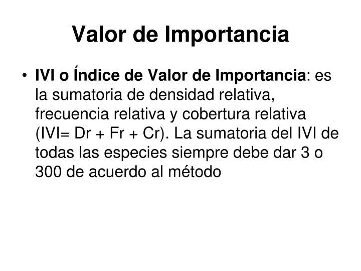 Valor de Importancia