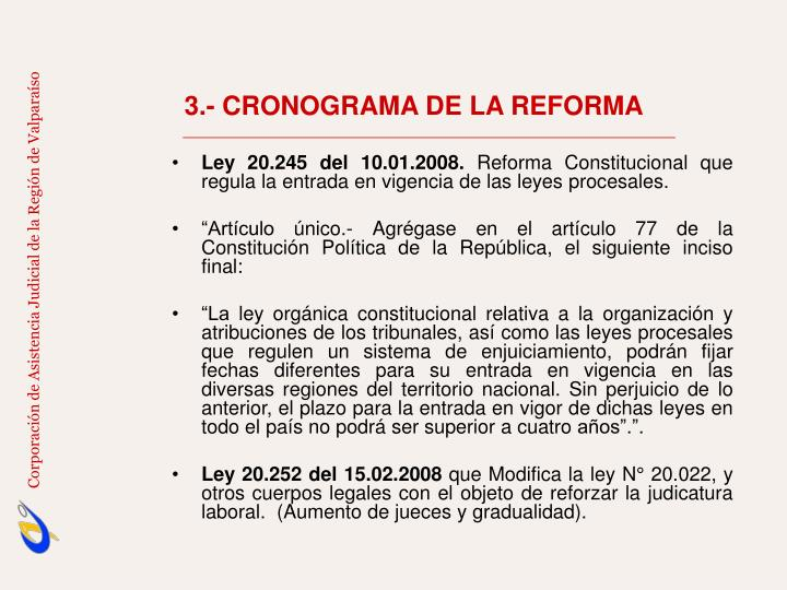 3.- CRONOGRAMA DE LA REFORMA