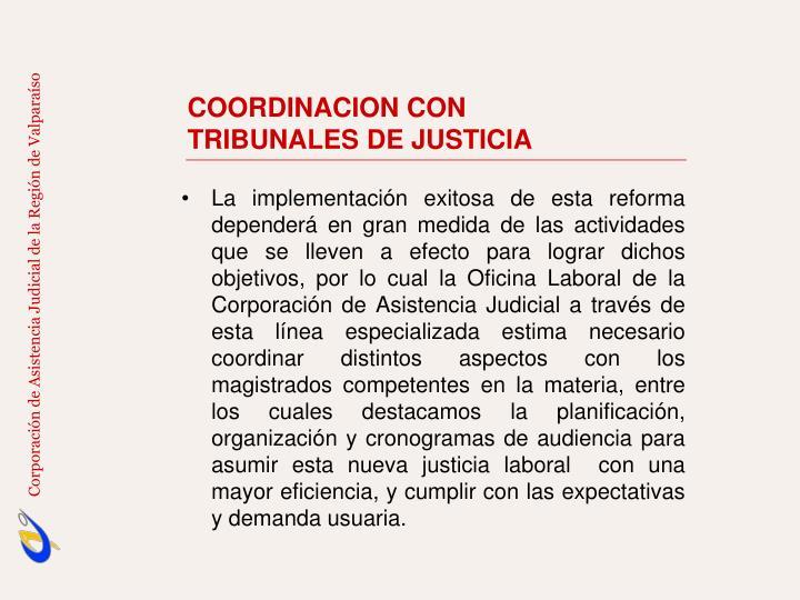 COORDINACION CON                TRIBUNALES DE JUSTICIA