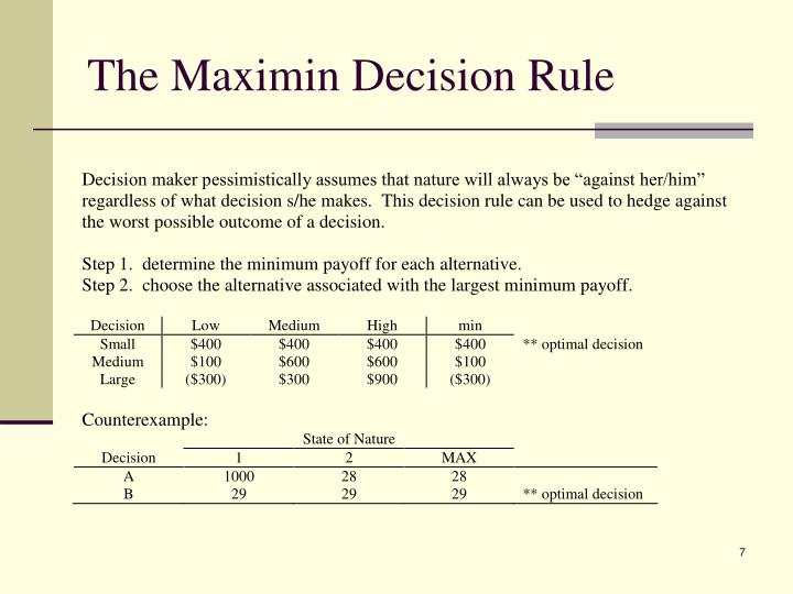 The Maximin Decision Rule