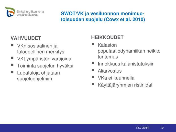 SWOT/VK ja vesiluonnon monimuo-toisuuden suojelu (Cowx et al. 2010)