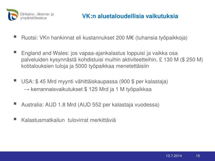 VK:n aluetaloudellisia vaikutuksia