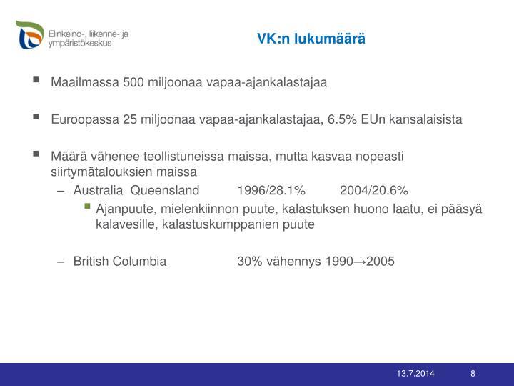 VK:n lukumäärä