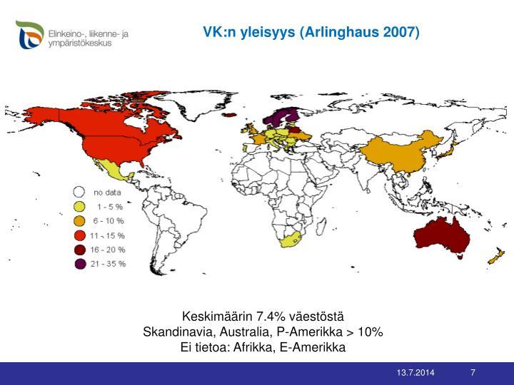 VK:n yleisyys (Arlinghaus 2007)