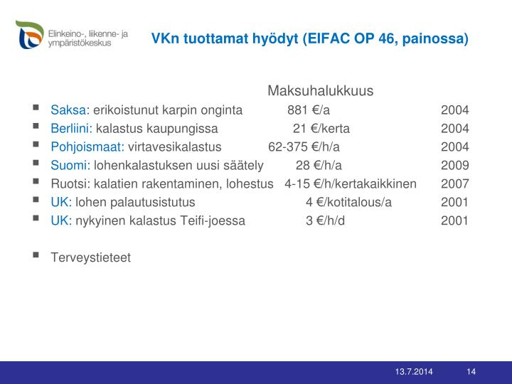 VKn tuottamat hyödyt (EIFAC OP 46, painossa)