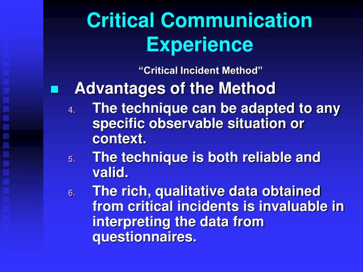 Critical Communication Experience