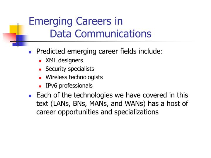 Emerging Careers in