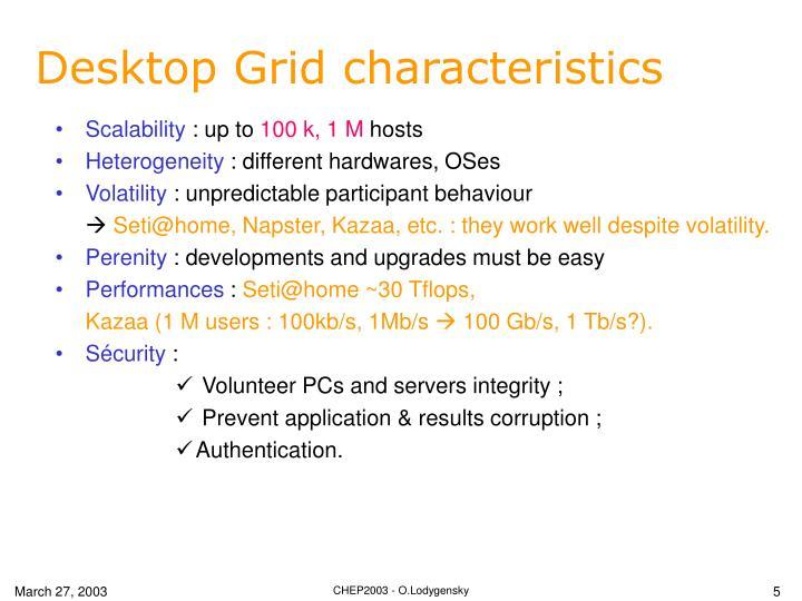 Desktop Grid characteristics