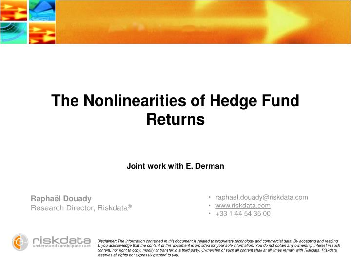 The nonlinearities of hedge fund returns