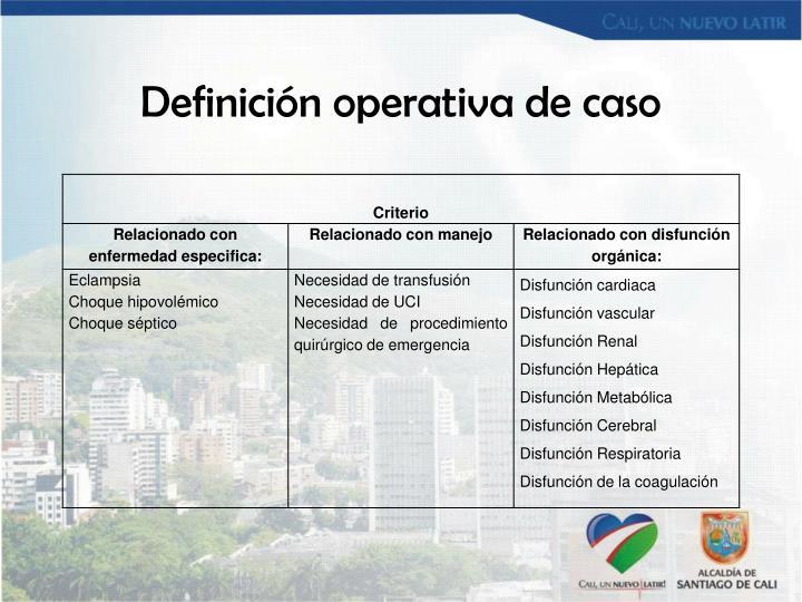 Definición operativa de caso