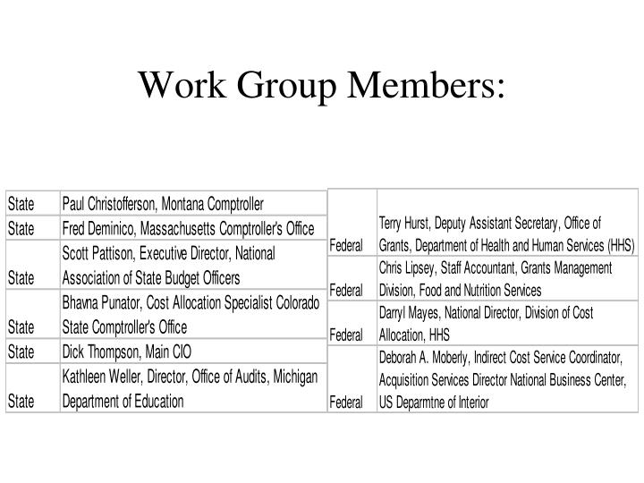 Work group members