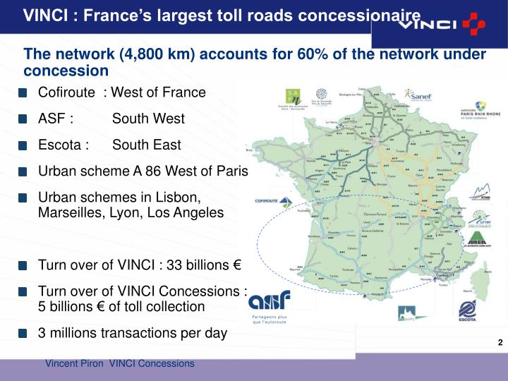 Vinci france s largest toll roads concessionaire