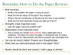 reminder how to do the paper reviews