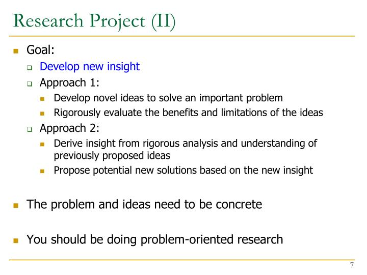 Research Project (II)