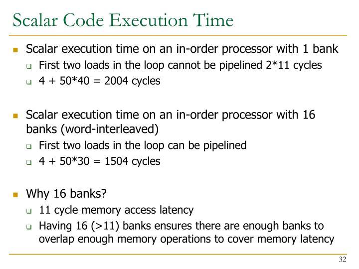 Scalar Code Execution Time