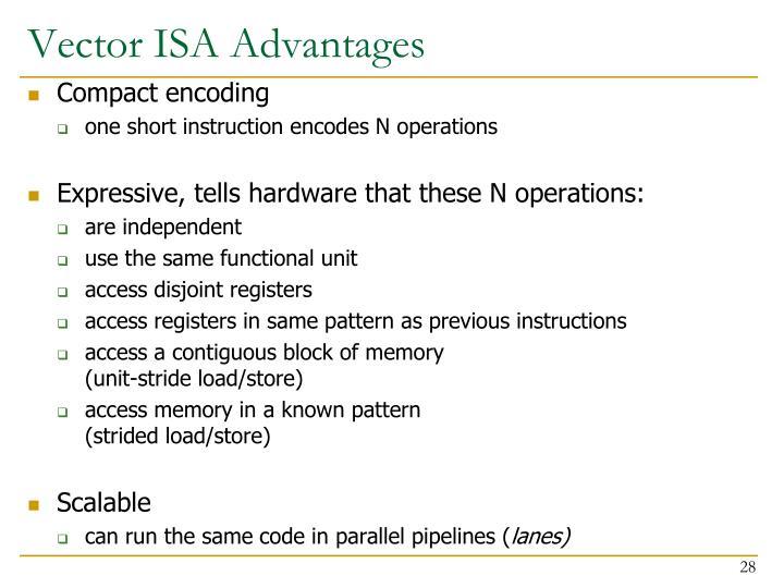 Vector ISA Advantages