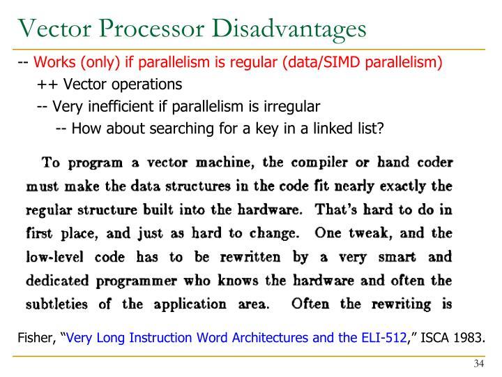 Vector Processor Disadvantages